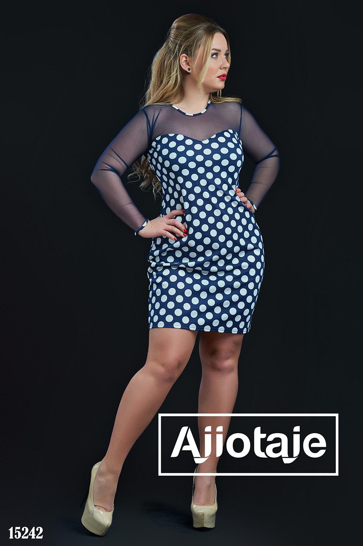 Темно-синее платье мини в принт полька