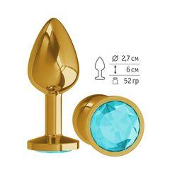 Анальная втулка Gold с голубым кристаллом маленькая