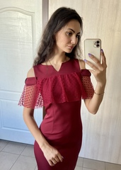 Грета. Молодіжна коктейльна сукня. Бордо