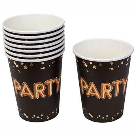 Стаканы Гламур Black&Gold PARTY, 8 штук