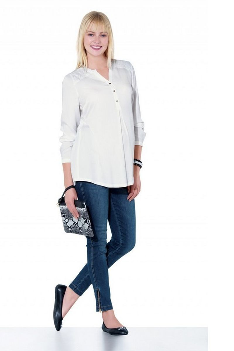 Фото джинсы для беременных EBRU, зауженные, средняя посадка, высокая вставка от магазина СкороМама, синий, размеры.