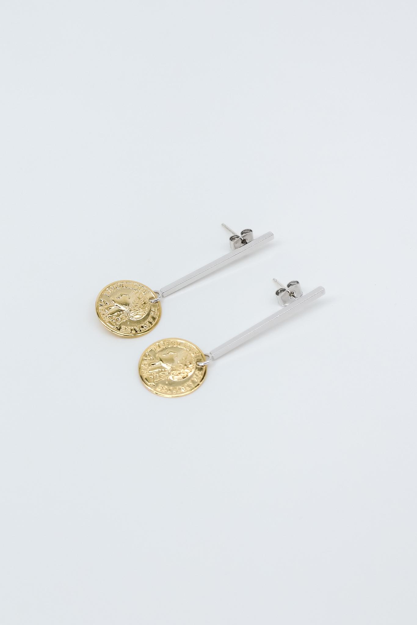 Серьги с позолоченными монетками  оптом и в розницу