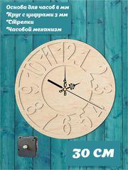 """Набор для часов своими руками """"Детали"""", основа 30 см со стрелками и часовым механизмом."""