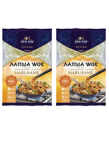 Бобовая лапша Harusame Wok Sen Soy Premium Стеклянная для обжарки  2 шт по 150 гр 1кор*1бл*2шт