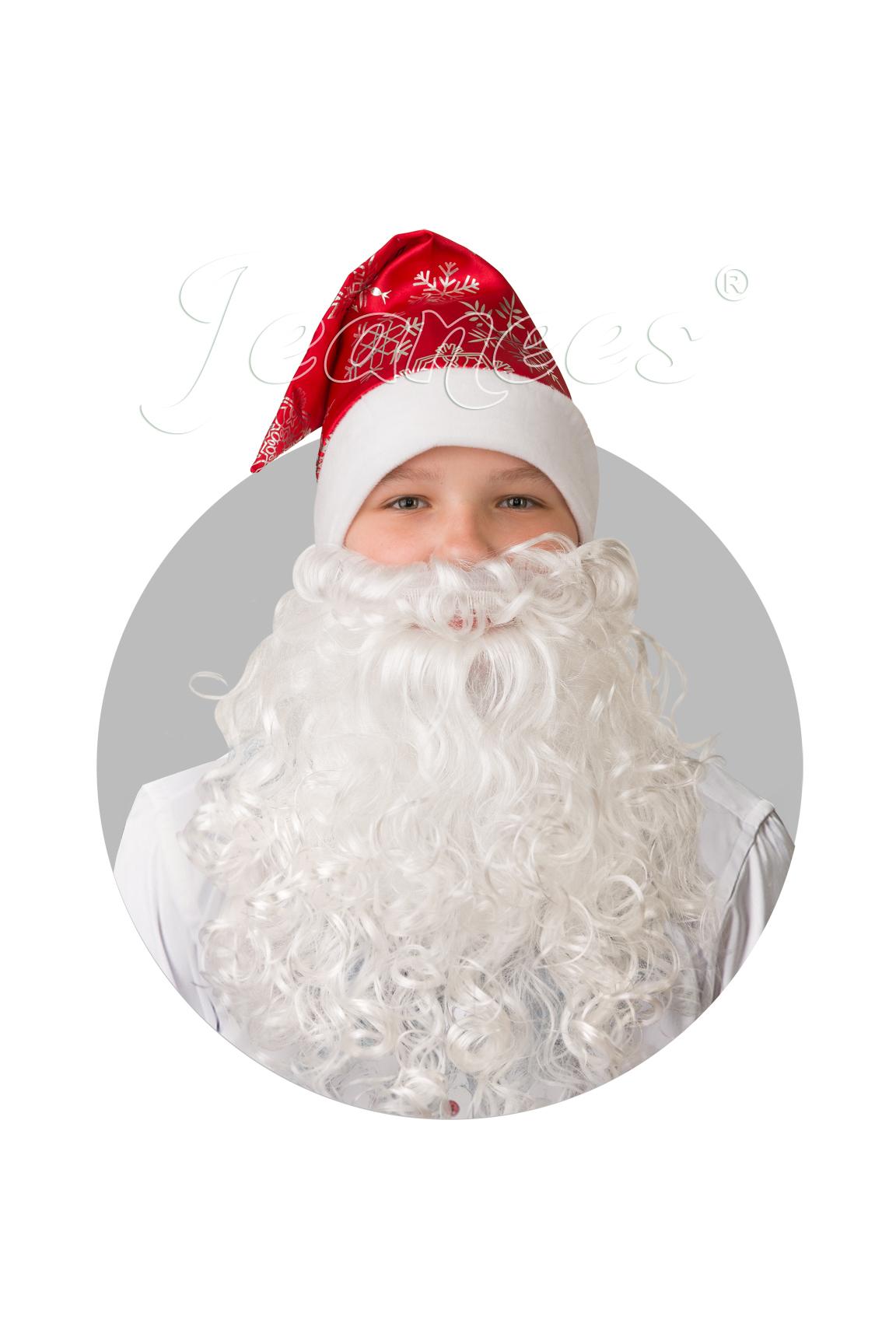 Колпак новогодний с бородой сатин красный со снежинками