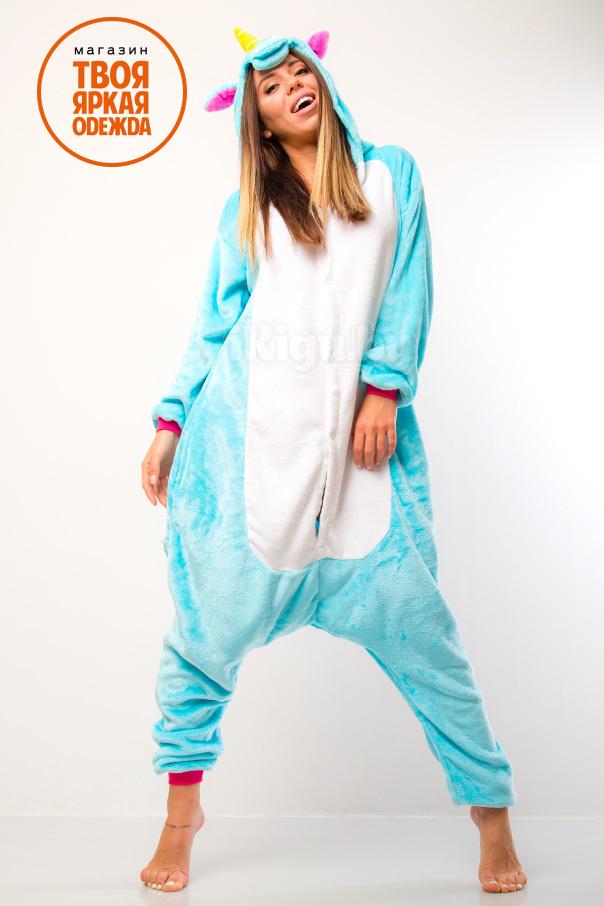 Пижамы кигуруми Единорог Бирюзовый unicorn-green2.jpg