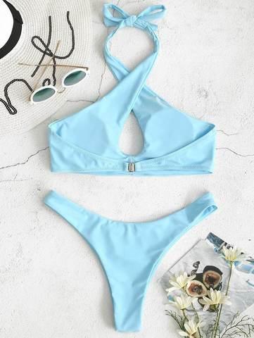 купальник раздельный голубой с перекрестными лямками на груди Cross Blue Sky 2