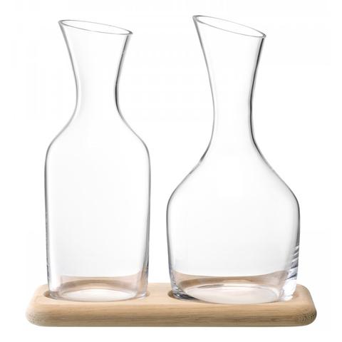 Набор из кувшинов для вина и воды на деревянной подставке, 1.2 л/1.4 л