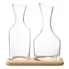 Набор из кувшинов для вина и воды на деревянной подставке, 1.2 л/1.4 л, фото 1