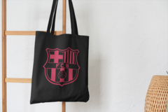 Сумка-шоппер с принтом FC Barcelona (ФК Барселона) черная 001
