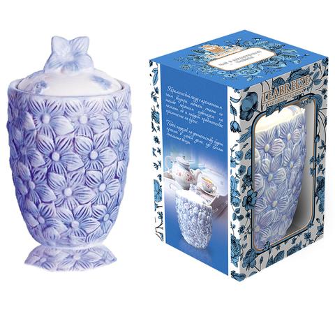 Подарочная керамическая чайница Цветы (чай Земляника со сливками) 1кор*6бл*1шт 100г.
