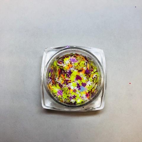 Микс цветной ( бабочки, луна, сердечки) №6