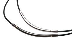 Ожерелье PHITEN RAKUWA NECKLACE X100 METAX ROUND (серебряно-черный)