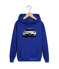 Толстовка синяя с капюшоном (худи, кенгуру) и принтом Альфа Ромео (Alfa Romeo) 002