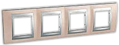 Рамка на 4 поста. Цвет Оникс-алюминий. Schneider electric Unica Top. MGU66.008.096