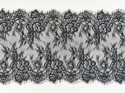Кружево шантильи, с ресничками, 23 см, черное, купон