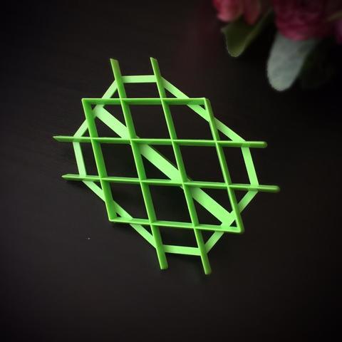 Оттиск пластиковый с ручкой РОМБЫ классические (зеленый оттиск)