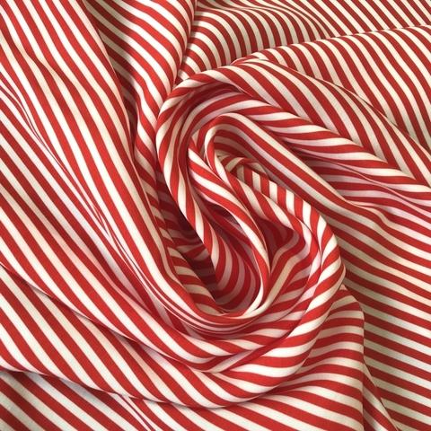 Ткань вискоза в красную узкую полоску 3280