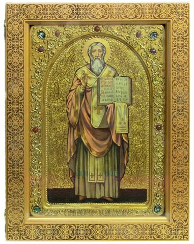 Большая Живописная икона Святой равноапостольный Мефодий Моравский 42х29см на кипарисе в березовом киоте
