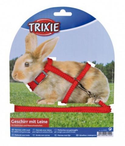 Trixiе 6150 Шлейка д/кроликов с поводком 8мм*1,2м