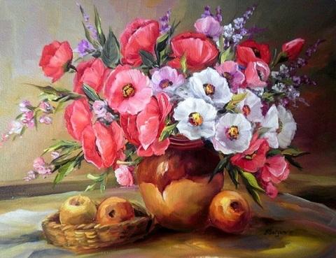 Алмазная Мозаика 40x50 Цветы и корзинка с яблоками (арт. S084 )