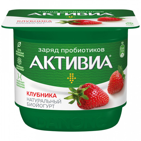 "Йогурт ""Активиа"" Клубника, 150г"