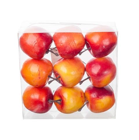 Набор яблок на проволоке 9шт., 5см, цвет:жёлто-красный