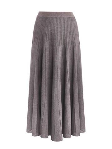 Женская юбка-плиссе коричневого цвета из вискозы - фото 1