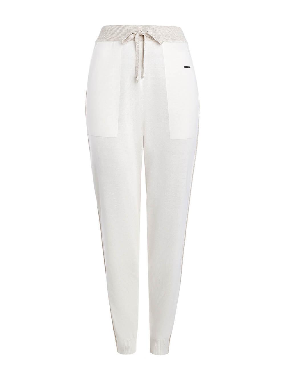 Женские брюки белого цвета из шелка и кашемира - фото 1