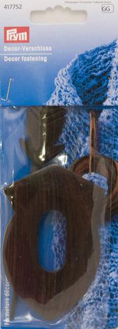 Застёжка декоративная Prym, деревянная, тёмно-коричневая, в форме эмблемы, 417752