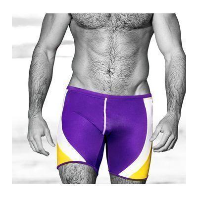 Мужские плавки фиолетовые с желтыми полосами Aussiebum