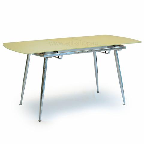 Стол T600 MILK Бежевый шелк / матовое стекло / опора хром / 122(152)х74 см