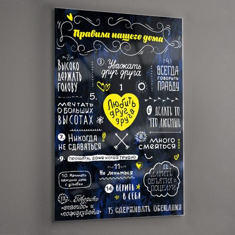 Картина на стекле для интерьера мотиватор Правила дома 28х40 см/ Мотивирующий постер черный