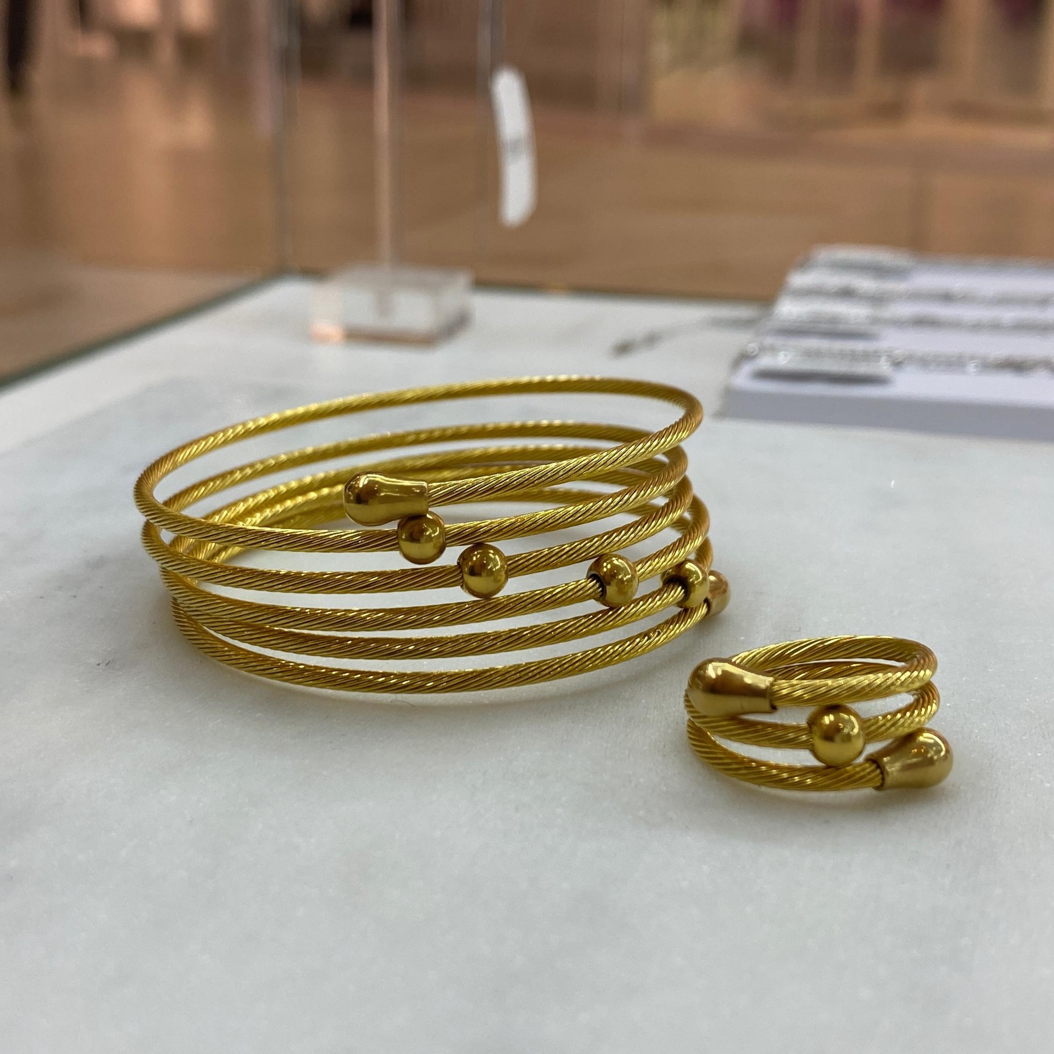 К-т Браслет и Кольцо, кабельный пружинный, сталь (золотистый)