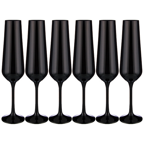 Набор бокалов для шампанского Sandra Sprayed black, 6 х 200 мл