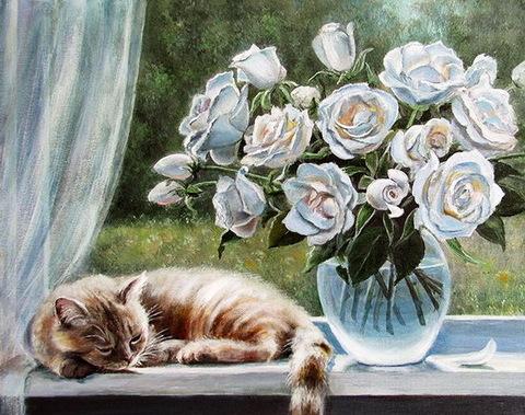 Картина раскраска по номерам 40x50 Белые розы и рыжий кот на окне