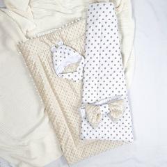 СуперМамкет. Конверт-одеяло с бантом и шапочкой Звездочки, бежевый вид 3