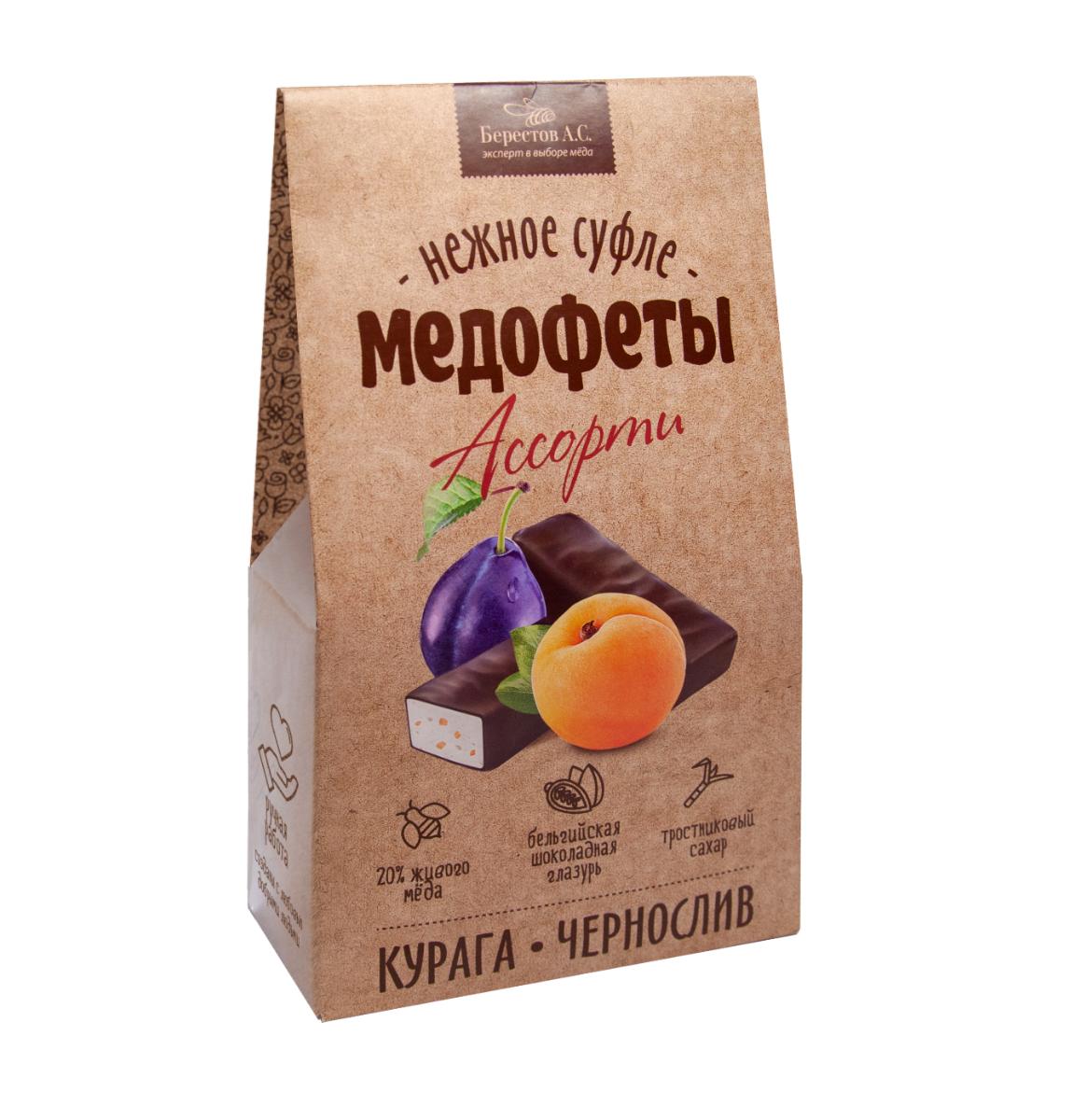 Медофеты Суфле Ассорти с курагой/черносливом и медом в шоколадной глазури