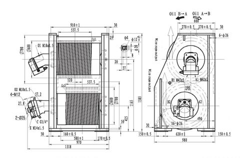Крановая двойная лебедка IYJ455-115-84-24-ZPG