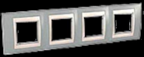 Рамка на 4 поста. Цвет Серый/Бежевый. Schneider electric Unica Хамелеон. MGU6.008.565