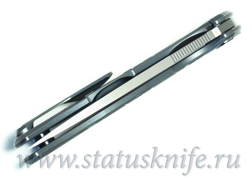 Нож Широгоров Flipper 95 R  T-узор М390 As blue mrbs - фотография