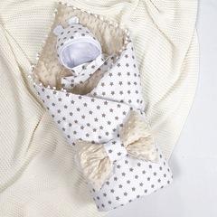СуперМамкет. Конверт-одеяло с бантом и шапочкой Звездочки, бежевый вид 1