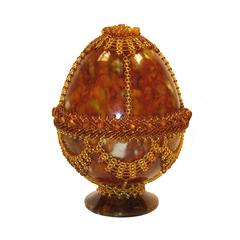 Сувенирное Пасхальное яйцо (натуральный янтарь, бисер), АВ-0741