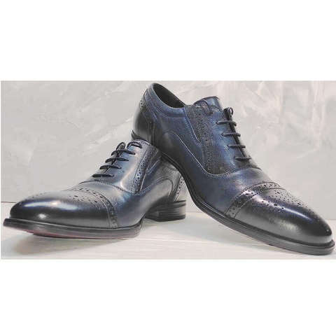 Броги оксфорды мужские Ikoc 3805-4 Ash Blue Leather.