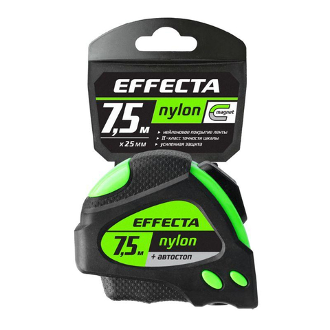Рулетка Nylon 7,5м/25 мм магнит автостоп нейлон Effecta 587525