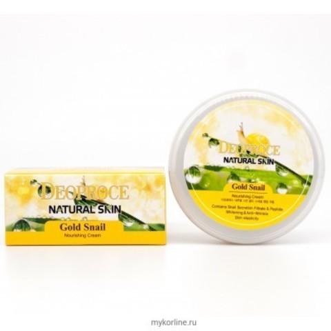Deoproce Natural Skin Gold Snail Nourishing Cream питательный крем для лица и тела на основе экстракта муцина улитки