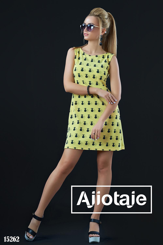 Яркое платье мини с кошечками