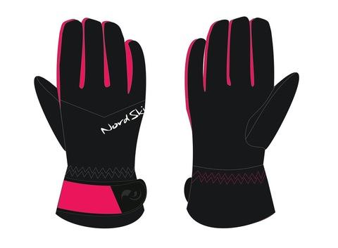 Тёплые лыжные перчатки Nordski Arctic Black/Raspberry Membrane W