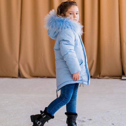 Зимова дитяча підліткова парка блакитного кольору з натуральним хутром