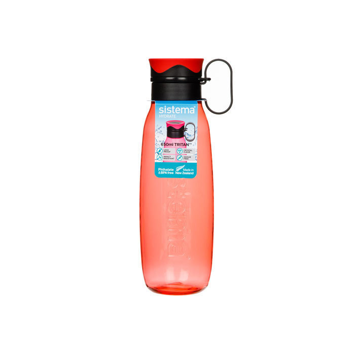"Бутылка для воды с петелькой Sistema ""Hydrate"", Тритан, 650 мл, цвет Красный"